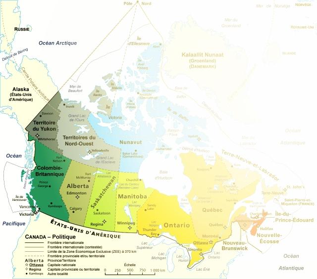 carte du canada- ombragée