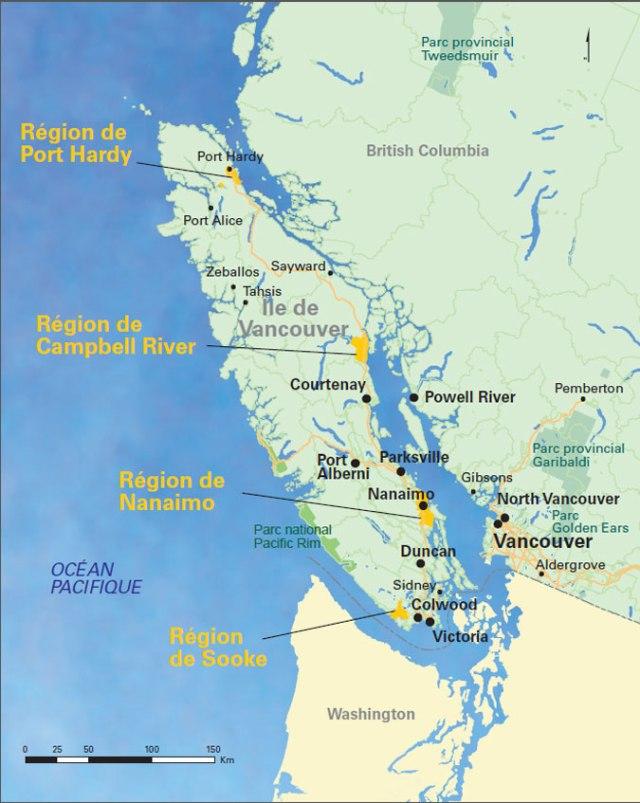 Ile de vancouver et Vancouver- carte détaillée