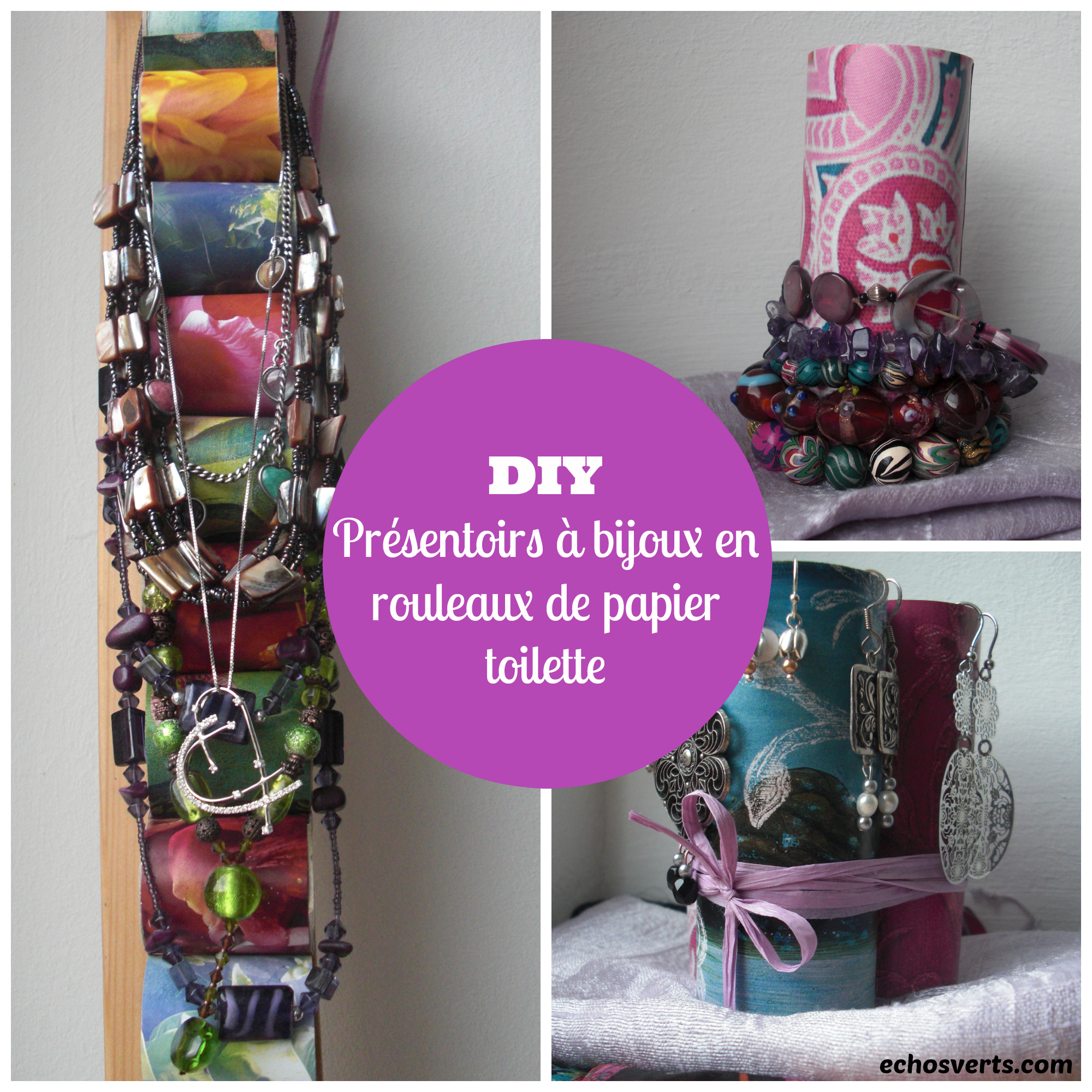 Diy pr sentoirs bijoux en rouleaux de papier toilette - Idee avec rouleau papier toilette ...