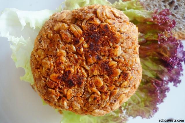 Burger vegan haricots blancs avoine- echosverts.com