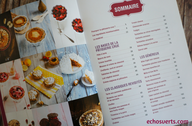 La pâtisserie crue Ophélie Veron sommaire echosverts.com